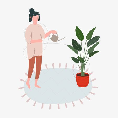 Beautiful young woman in comfortable home clothes watering houseplants. Caring for indoor plants. Hobby. Vector illustration in flat style