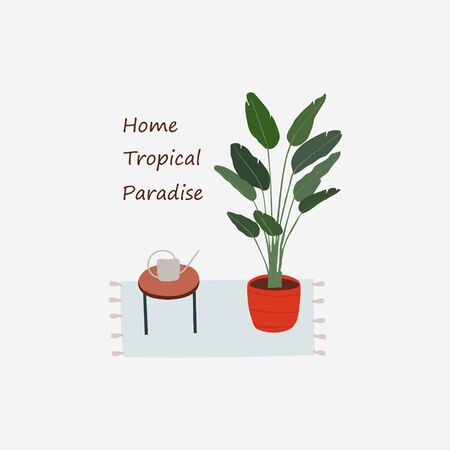 Modern card with house plant and watering can on table. Caring for indoor plants. Hobby. Vector flat illustration card witn text Home Tropical Paradise.