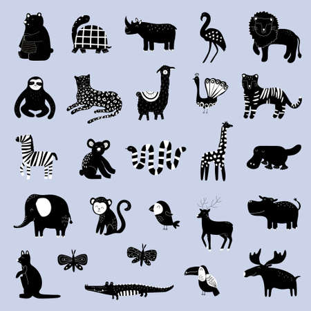 Big collection with hand drawn animals silhouette. Cute kids style template for game and education. Flat design vector illustration Vecteurs