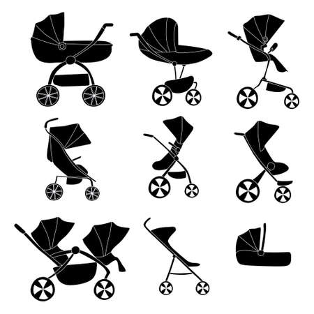 Set with baby or child carriage, infant wagon, perambulator. Modern models of baby pram. Vector illustration