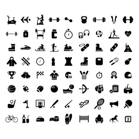 Big collection of sport icons. High quality pictograms for web design. Flat vector illustration