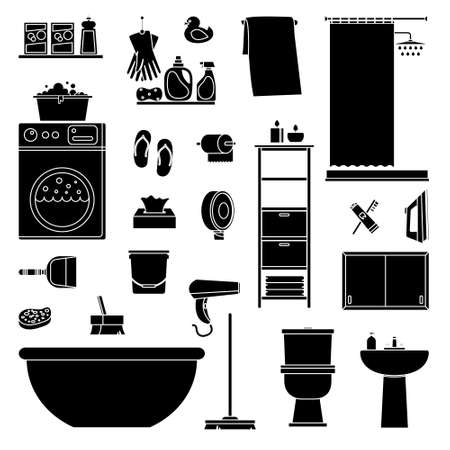Big collection of bathroom and cleaning icons. High quality pictograms for web design. Flat vector illustration