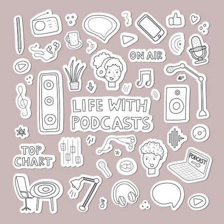 Podcasts concept clipart. Color flat icons for blogging and vlogging. Live streaming. Vector illustration Ilustração