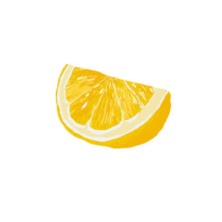 Vegetarian and healthy food concept. Colorful card for print or web design with realistic wedge of lemon. Isolated on white background. Vector Vettoriali