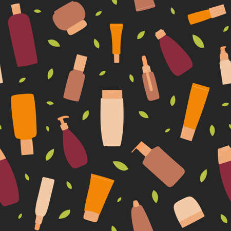 Pattern with empty and clean cosmetic containers: bottles, spray, cream jar, tube. Organic cosmetology and dermatology concept. Hand drawn flat Illustration.