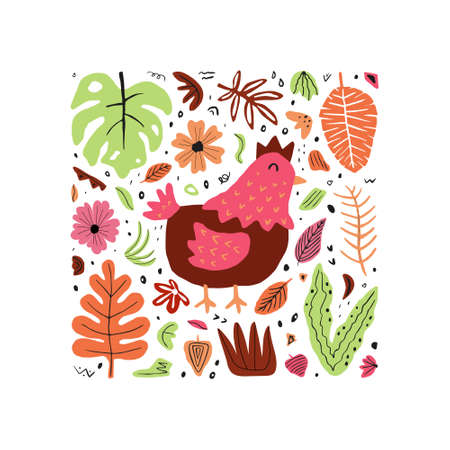 Cute chicken hand drawn flat vector illustration. Domestic farm animals with leaves and flowers isolated on white background. Creative childish t shirt print design 向量圖像
