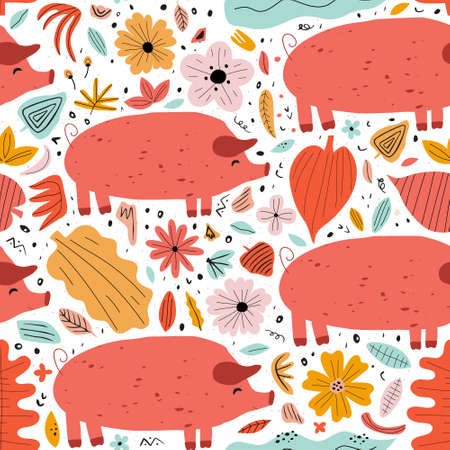 Vector seamless pattern with cute hand drawn piges, flowers and leaves. Childish texture for fabric, textile, apparel.