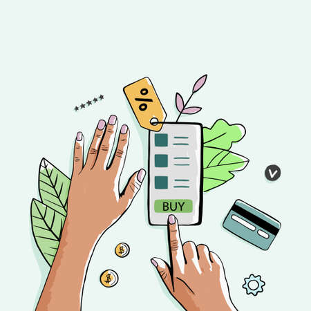 Women using credit card to do shopping online with mobile phone. Woman ordering goods top view witn empty space. Lady making online payment with credit card and phone. Vector