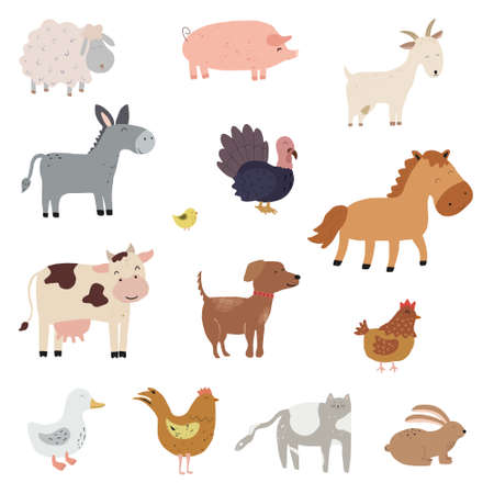 Set of cartoon farm animals. Collection of funny pets and different stylized domestic animals. Vector illustration for children. Zoo.