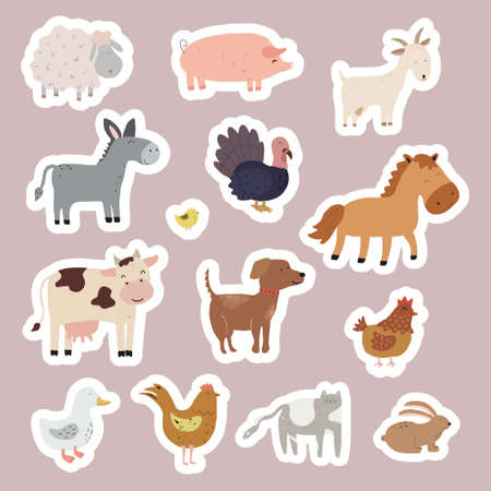Set of stickers with farm animals. Collection of funny pets and different stylized domestic animals. Vector illustration for children. Zoo.