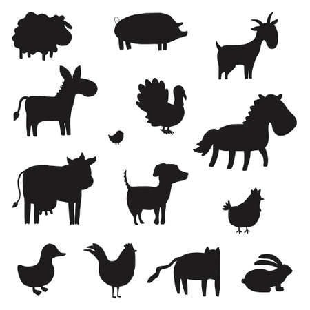 Set of farm animals silhouette. Collection of black color domestic animals. Vector illustration for children. Zoo. Stock Illustratie