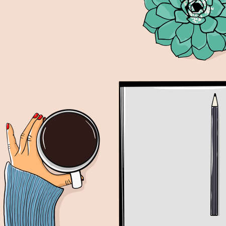 Top view of freelancer woman drinking coffee and notepad with copy space, placed on desk with flower. Mock up. Vector