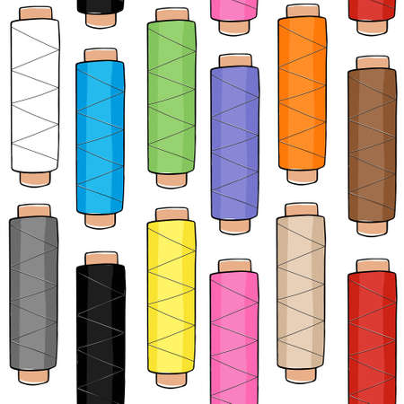 Seamless pattern of wooden bobbins, spools with colored thread isolated on background. Equipment for sewing, tailoring, accessory for needlework and clothing repair. Vector
