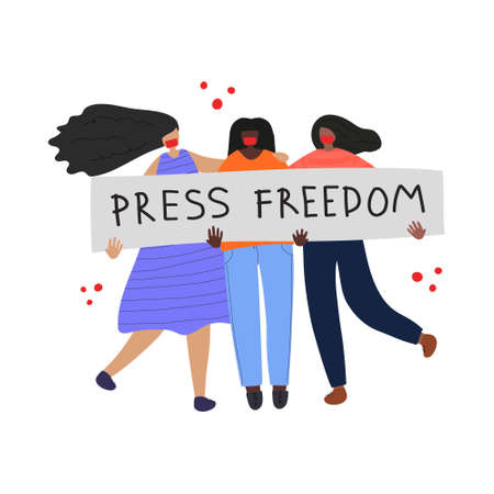 Press freedom concept. Web banner with young journalists and text Press Freedom. Idea of political demonstration. Flat vector illustration Vecteurs