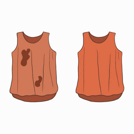 Dirty untidy t-shirt with spots and neat clean clothes. Clean, fresh laundry with removed dirt and stains. Dirty and washed laundry. Colored flat cartoon vector illustration isolated on white background
