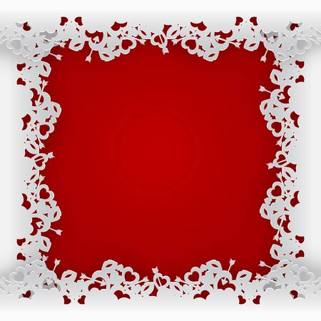 White laced frame vector illustration on red background.