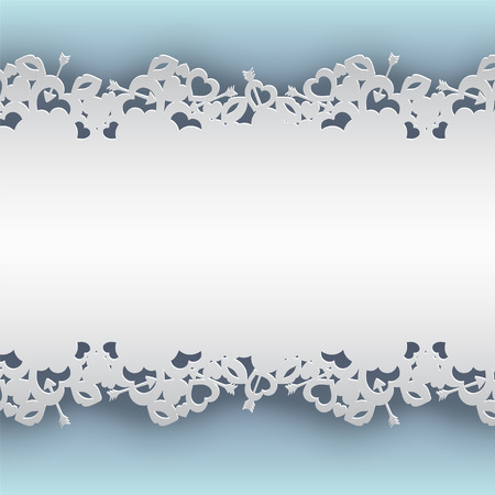 laced: White laced background with hearts, lips and cupids arrow vector illustration on blue background.