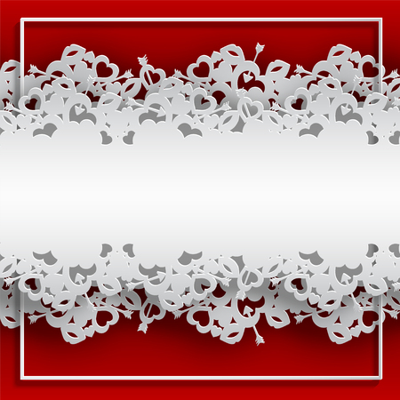 White laced frame with hearts, lips and cupid's arrow vector illustration on blue background.
