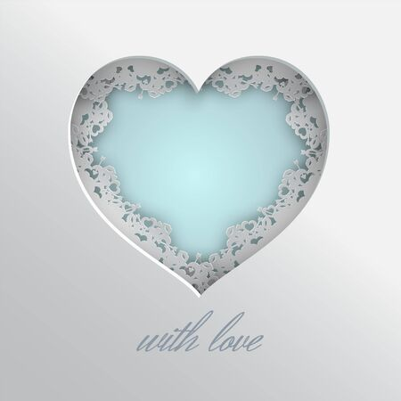 Blue heart vector illustration laced with hearts, lips and cupids arrow frame. Illustration