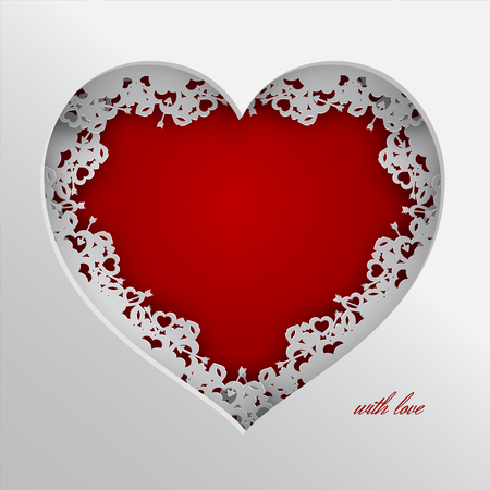 Red heart vector illustration laced with hearts, lips and cupids arrow frame.