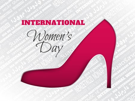 8 March greeting card with cuted silhouette of shoe on pink background with word cloud in different languages. Caption international women's day, layers are isolated
