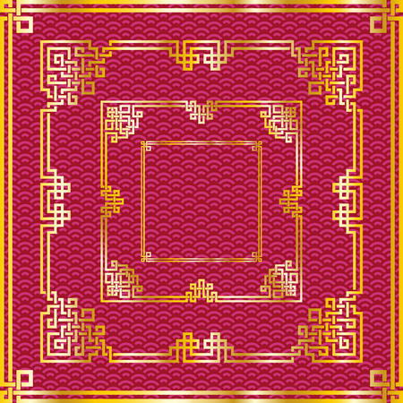 Set of traditional oriental chinese golden square frames on pattern red background for decoration. Vector illustration, layers are isolated Ilustração