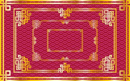 装飾用パターン赤背景に伝統的な東洋中国黄金長方形フレームのセットです。ベクトル図、層が分離