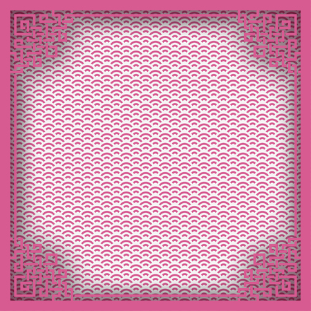 Chinese square frame on pink pattern oriental background for greeting card. Vector illustration, paper cut out art style. Layers are isolated