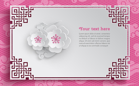 chinese new year card: Oriental frame, floral arrangement with cherry flowers on pink pattern background with clouds for greeting card decoration, paper cut out style. Vector illustration, layers are isolated Illustration