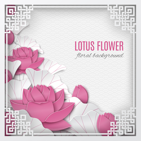 Oriental floral background with pink lotus flowers and ornate cut frame on white pattern backdrop for greeting card, paper cut out style. Caption Lotus flower, vector illustration Illusztráció