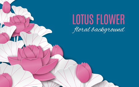 Oriental floral background with pink paper lotus flowers decoration on blue backdrop for greeting card
