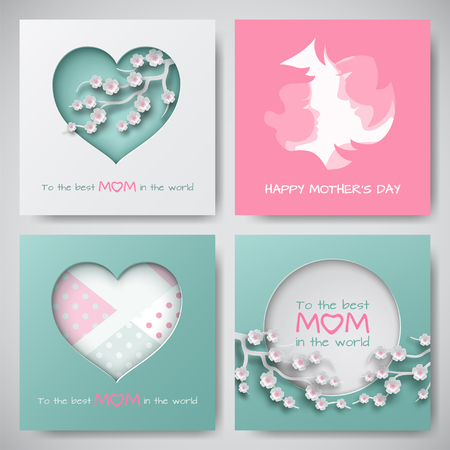 Set of greeting cards for mothers day women and baby silhouettes set of greeting cards for mothers day women and baby silhouettes congratulation text m4hsunfo