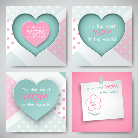 Set of green and pink greeting cards for mothers day sheet set of green and pink greeting cards for mothers day sheet of paper with congratulation m4hsunfo