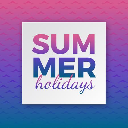 De typografie van de de zomervakantie voor affiche, banner, vlieger, groetkaart en ander seizoengebonden ontwerp met kader en gradiënt roze blauwe overzeese golfachtergrond. Vector illustratie Vector Illustratie