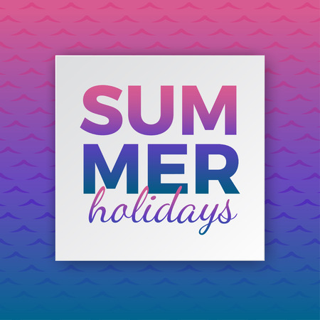 Summer holidays typography for poster, banner, flyer, greeting card and other seasonal design with frame and gradient pink blue sea wave background. Vector illustration Иллюстрация
