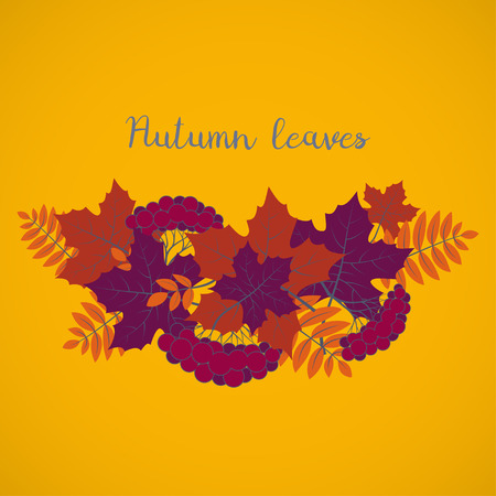 Autumn background, colorful floral frame with silhouettes of tree leaves on yellow background, design element for the fall season banner, poster, flyer or greeting card, vector illustration Illustration