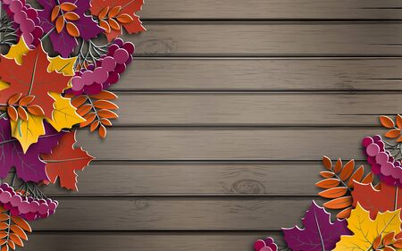 Autumn paper background with colorful tree leaves on wooden backdrop, design elements for the fall season banner, poster or thanksgiving day greeting card, paper cut out art style, vector illustration