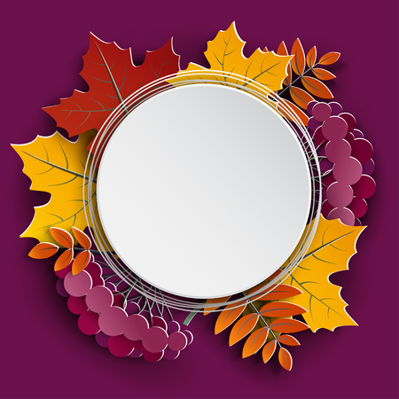 Autumn floral paper cut frame and paper colorful tree leaves on purple background.