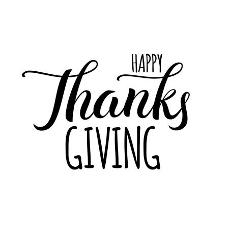 Happy thanksgiving day hand drawn lettering label in black color isolated on white background. Иллюстрация