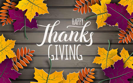 Thanksgiving holiday banner, paper colorful tree leaves on wooden background. Иллюстрация