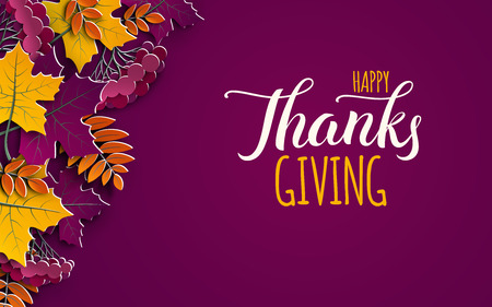 Thanksgiving holiday banner with congratulation text. Autumn tree leaves on purple background.