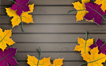 Autumn paper background, colorful tree leaves on wooden backdrop, design for fall season banner, poster or thanksgiving day greeting card, space for text, paper cut out art style, vector illustration
