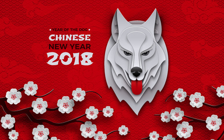Chinese new year banner, symbol 2018 year of the dog, zodiac sign, head of dog with traditional sakura cherry flowers on pattern asian oriental background.