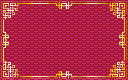 Oriental vintage gold frame on red / purple pattern background for chinese new year celebration card, poster, banner or flyer, vector illustration