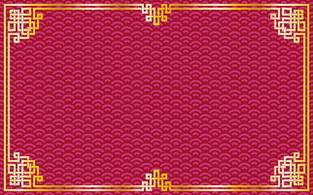 Oriental vintage gold frame on red  purple pattern background for chinese new year celebration card, poster, banner or flyer, vector illustration