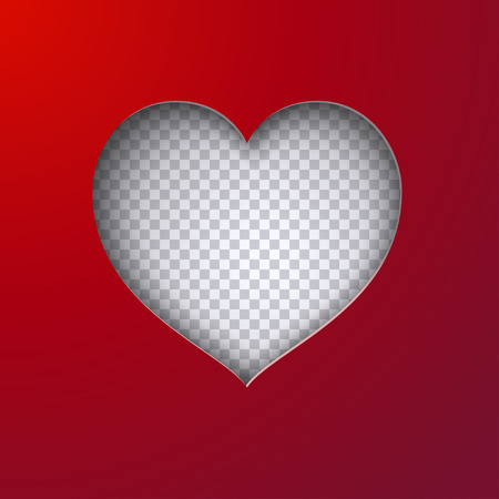 Cut heart shape with realistic shadow, red paper background isolated on transparent backdrop. Holiday design template for valentines day or mothers day. Paper cut out art style, vector illustration