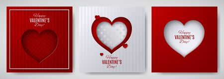 Valentines day design set. Greeting card, poster, banner collection. cut paper heart on white  red striped  dotted satin background, paper cut out art style. Vector illustration, layers isolated Иллюстрация