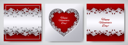 Valentines day design set. Greeting card, poster, banner collection. Cut   paper heart decorated with lace ribbon on red  white background, paper cut art style. Vector illustration, layers isolated