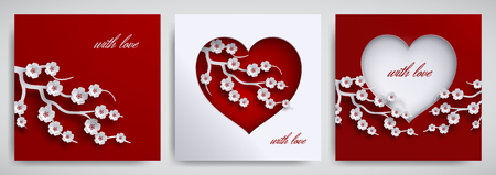 Valentines day, mothers day design set. Greeting card, poster, banner collection. Heart with cherry flowers branch on red, white background, paper cut art style. Vector illustration, layers isolated