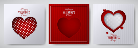 Valentines day design set. Greeting card, poster, banner collection. Cut paper heart on white  red striped  dotted satin background, paper cut out art style. Vector illustration, layers isolated